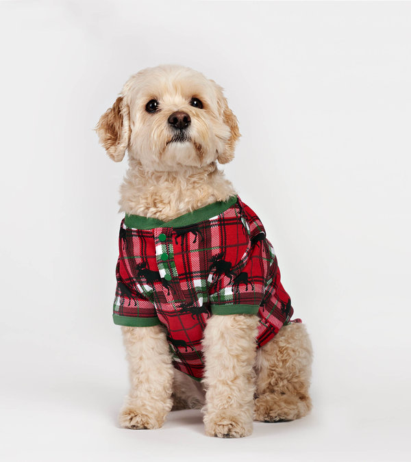 Holiday Moose on Plaid Dog Pajama