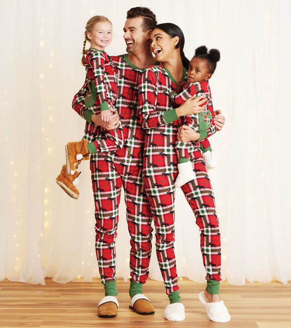 Holiday Moose on Plaid Family Union Suits