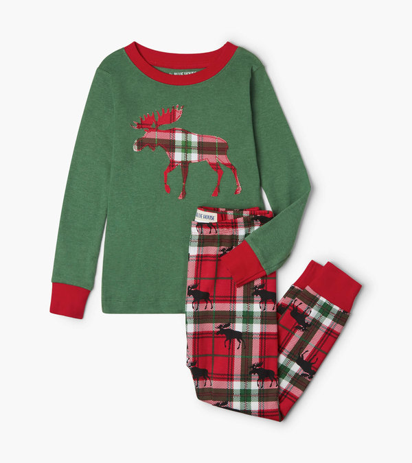 Holiday Moose on Plaid Kids Appliqué Pajama Set