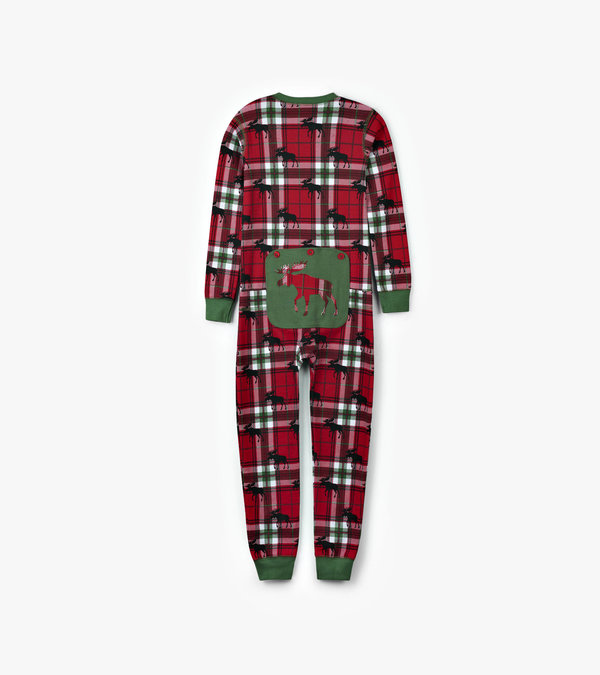 Holiday Moose on Plaid Kids Union Suit