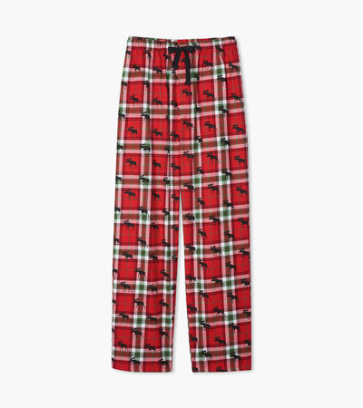 Holiday Moose on Plaid Men's Flannel Pajama Pants