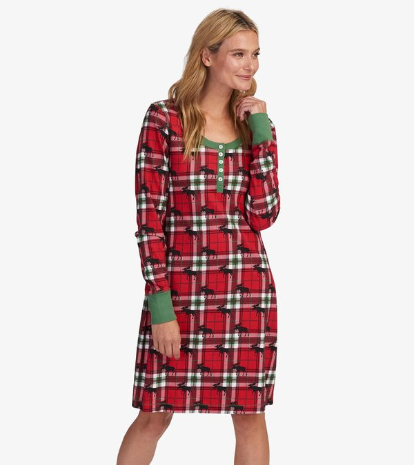 Holiday Moose on Plaid Women's Nightdress