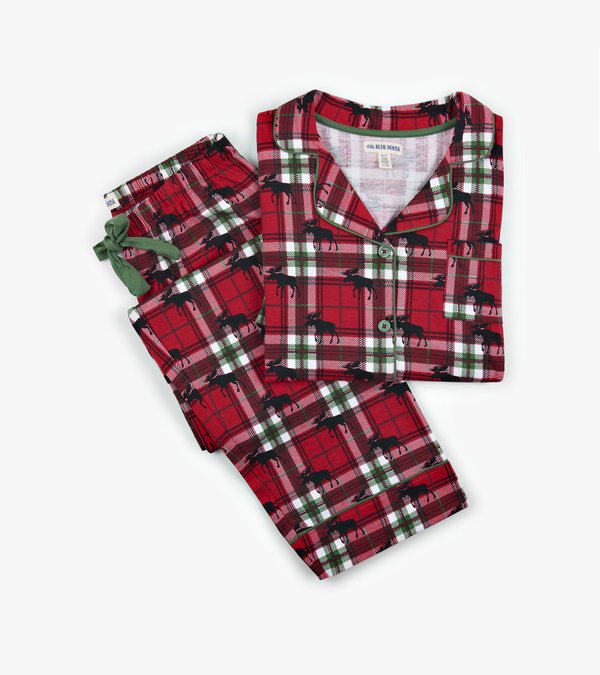 Holiday Moose on Plaid Women's Pajama Set