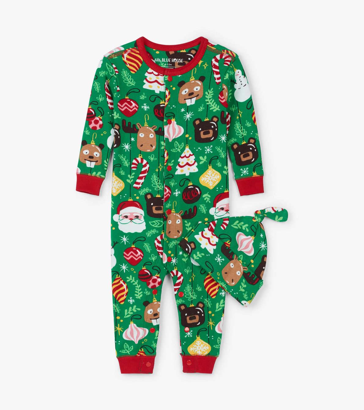 View larger image of Holiday Ornaments Baby Coverall with Hat