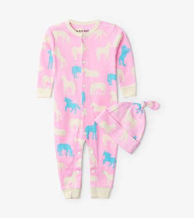 Horse Silhouettes Baby Coverall with Hat