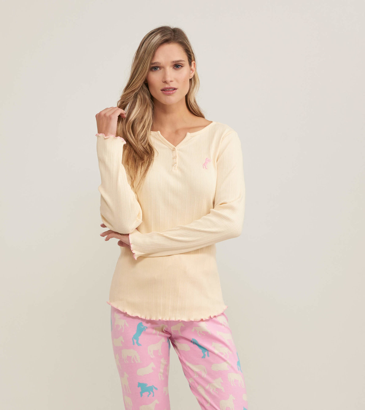 View larger image of Horse Women's Rib Long Sleeve Henley