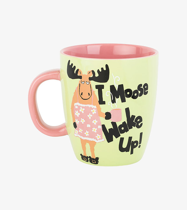 I Moose Wake Up Curved Ceramic Mug