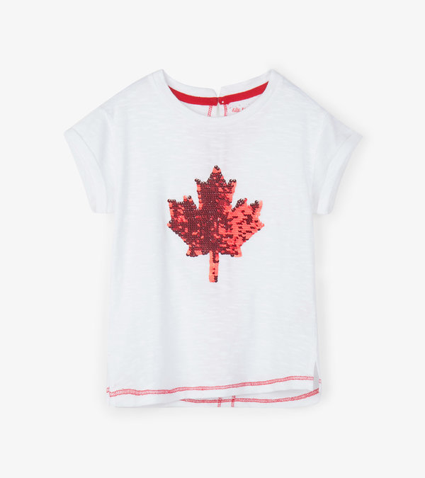 Maple Leaf Flip Sequin Kids Tee