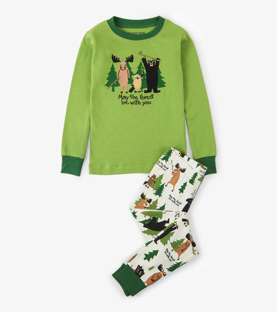 May The Forest Be With You Kids Appliqué Pajama Set