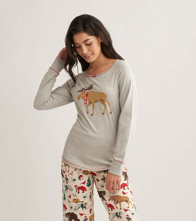 Moose On Grey Women's Stretch Jersey Top