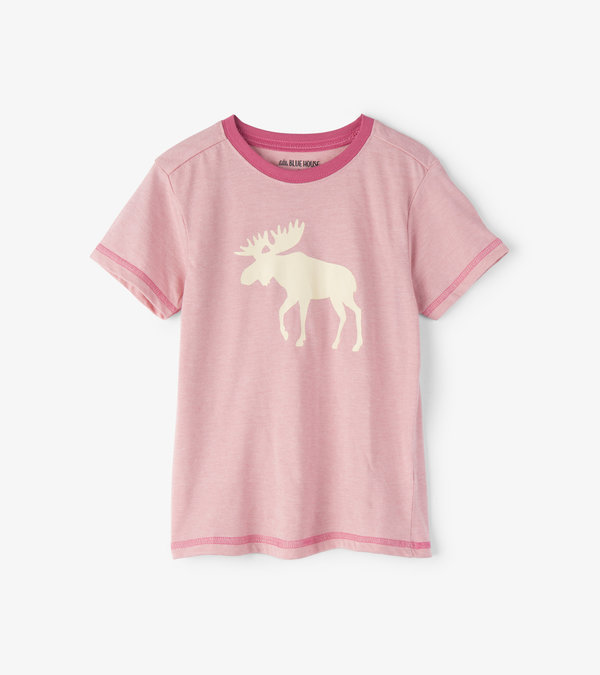 Moose on Pink Kids Tee