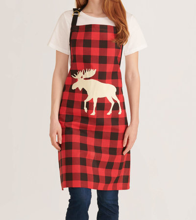 Moose on Plaid Apron