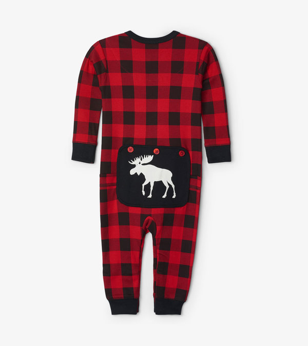 Moose On Plaid Baby Union Suit