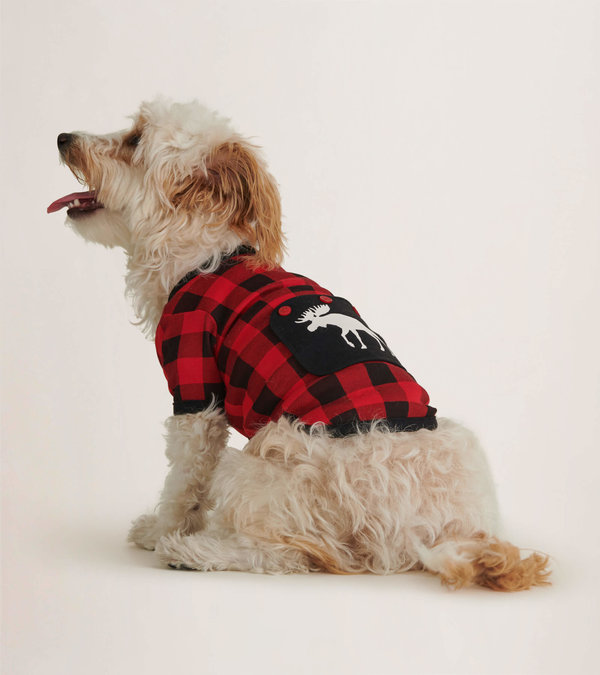 Moose On Plaid Dog Pajama
