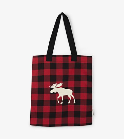 Moose on Plaid Reusable Tote Bag