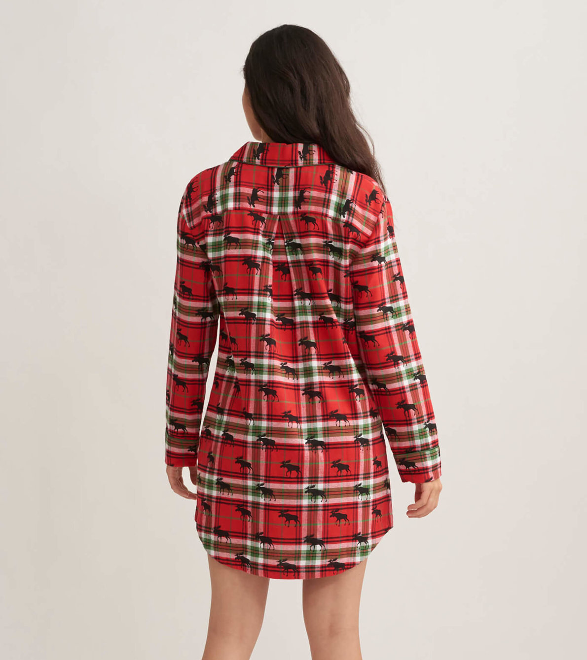 View larger image of Moose On Plaid Women's Flannel Nightdress