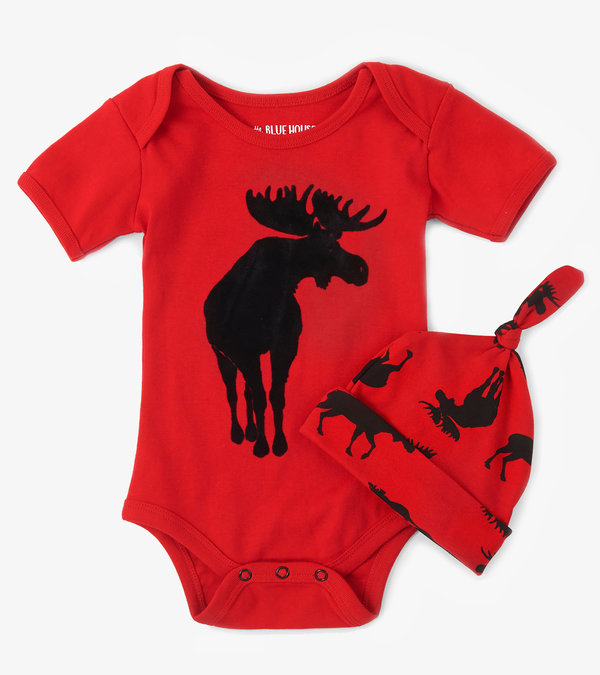 Moose on Red Baby Bodysuit with Hat