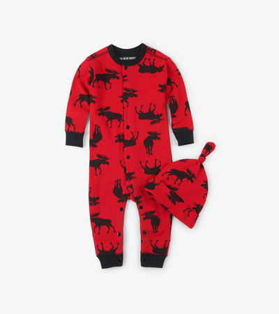 Moose on Red Baby Coverall with Hat