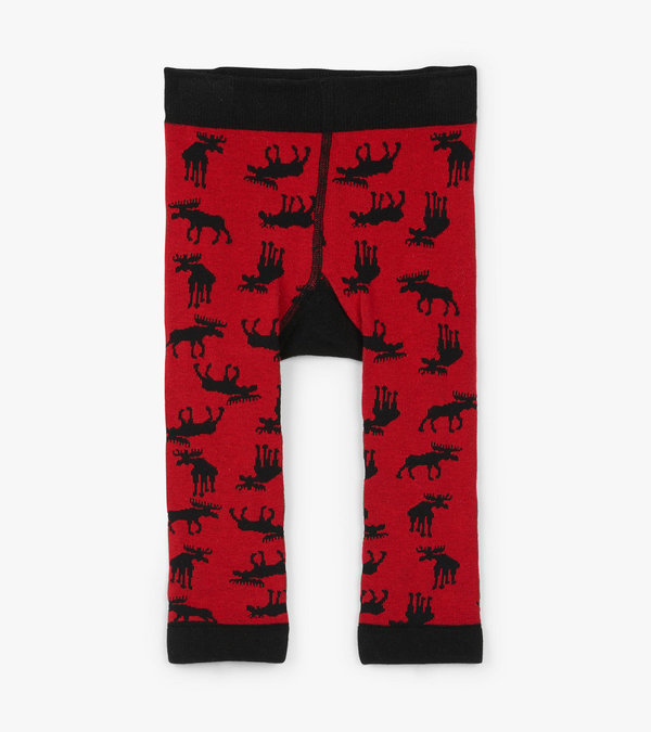 Moose on Red Baby Tights
