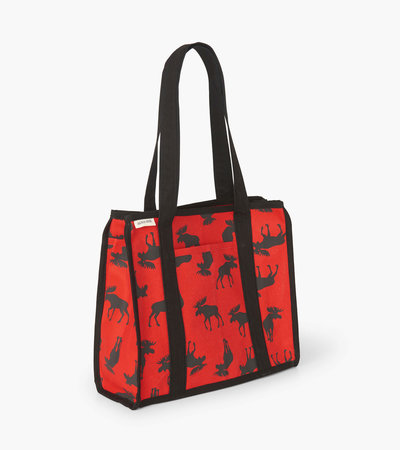 Moose on Red Canvas Tote Bag