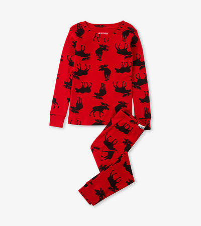 Moose on Red Kids Pajama Set
