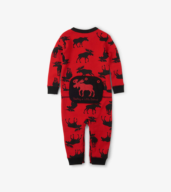 """Moose on Red """"Trailing Behind"""" Baby Union Suit"""