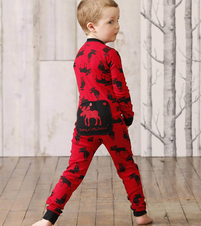 "Moose on Red ""Trailing Behind"" Kids Union Suit"