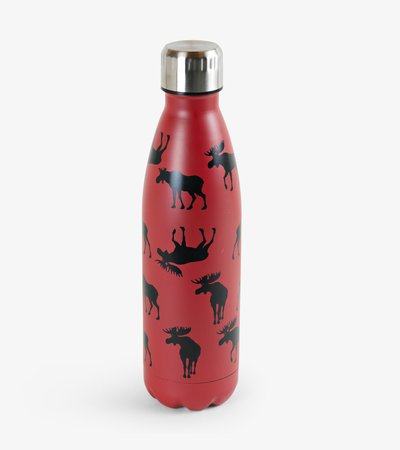 Moose on Red Travel Bottle