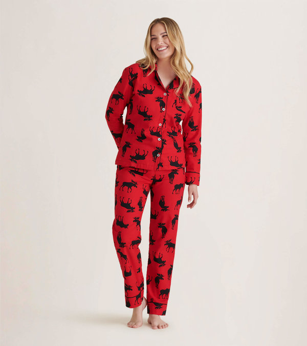 Moose On Red Women's Flannel Pajama Set