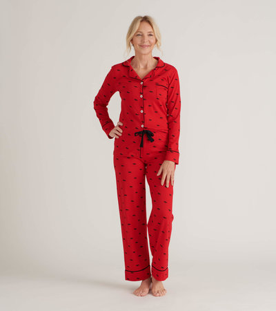 Moose on Red Women's Pajama Set