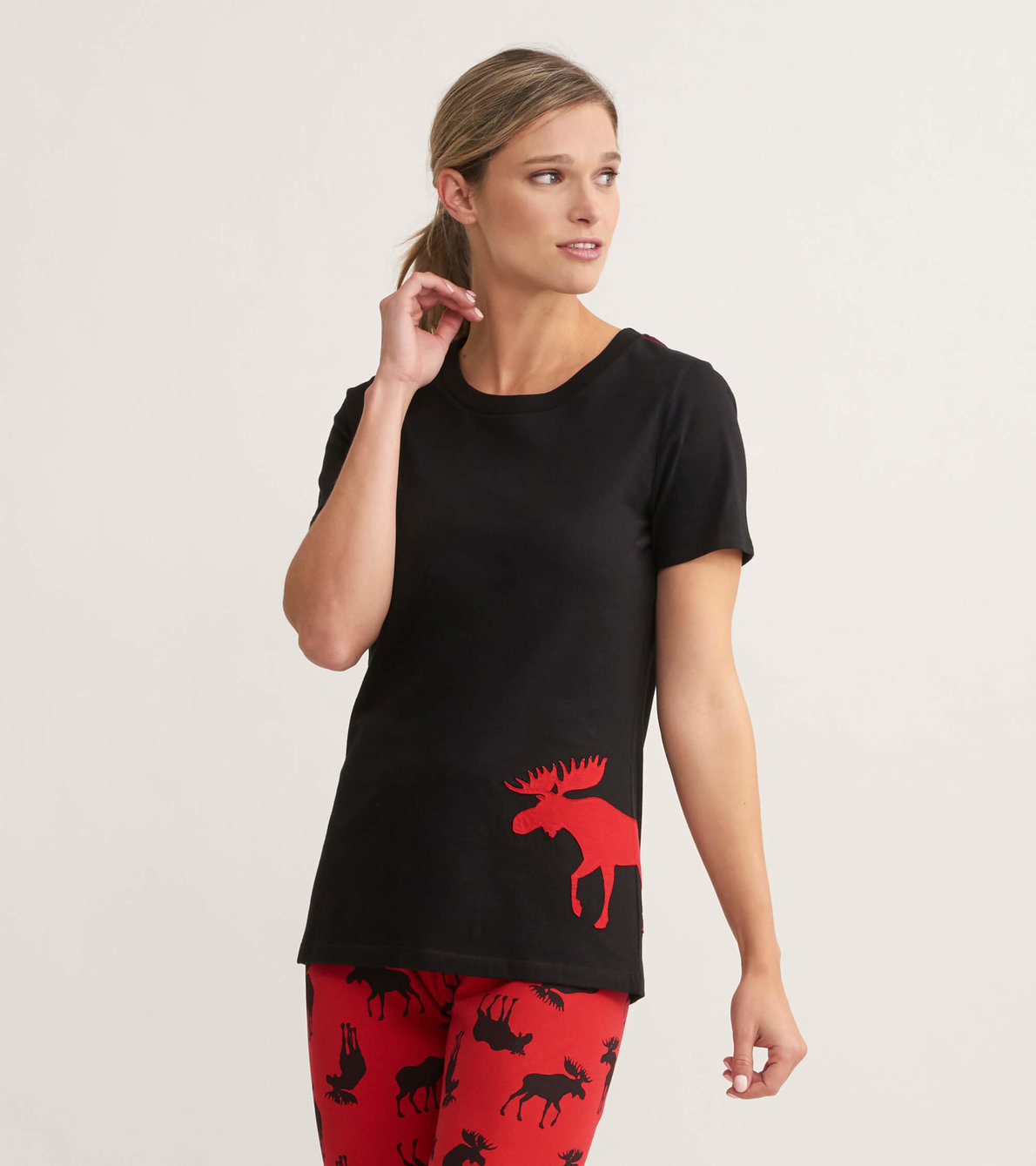 View larger image of Moose On Red Women's Pajama Tee