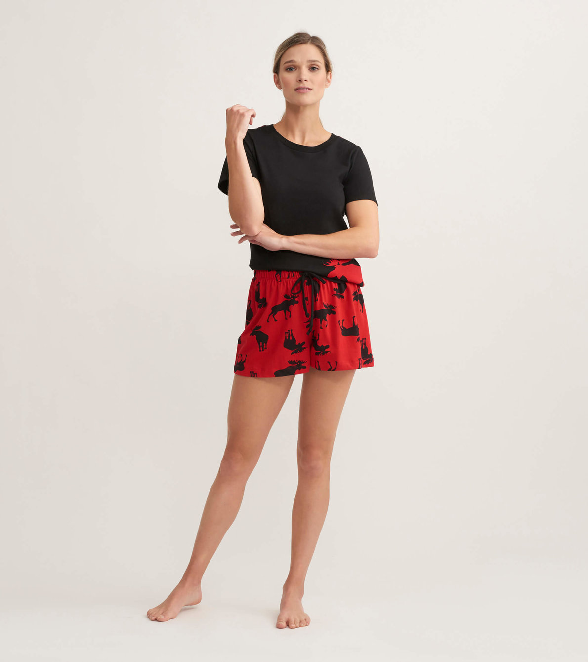 View larger image of Moose on Red Women's Sleep Shorts