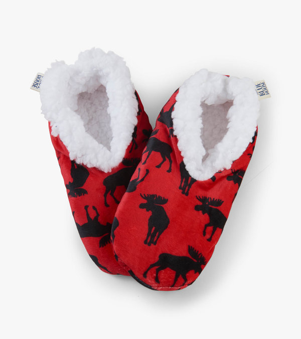 Moose on Red Women's Warm and Cozy Slippers