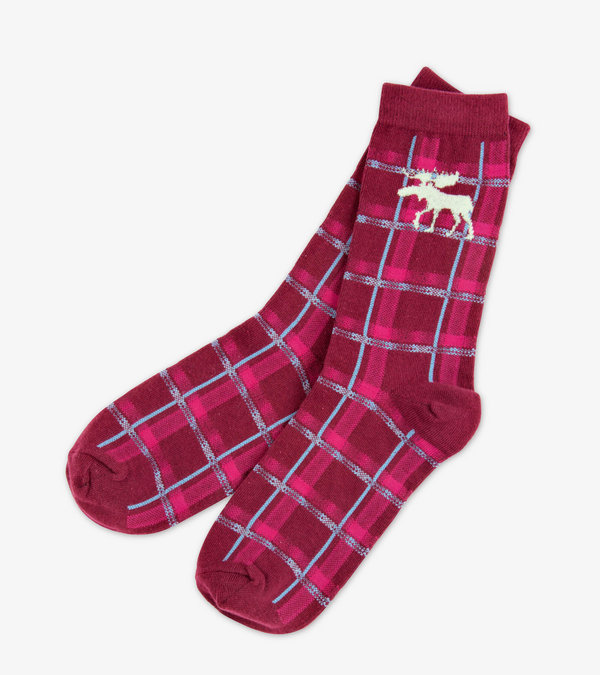 Moose Plaid Women's Crew Socks