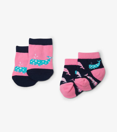 Nautical Whale Pink 2-Pack Baby Socks