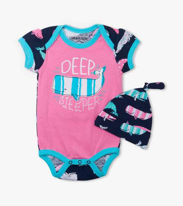 Nautical Whales Pink Bodysuit with Hat