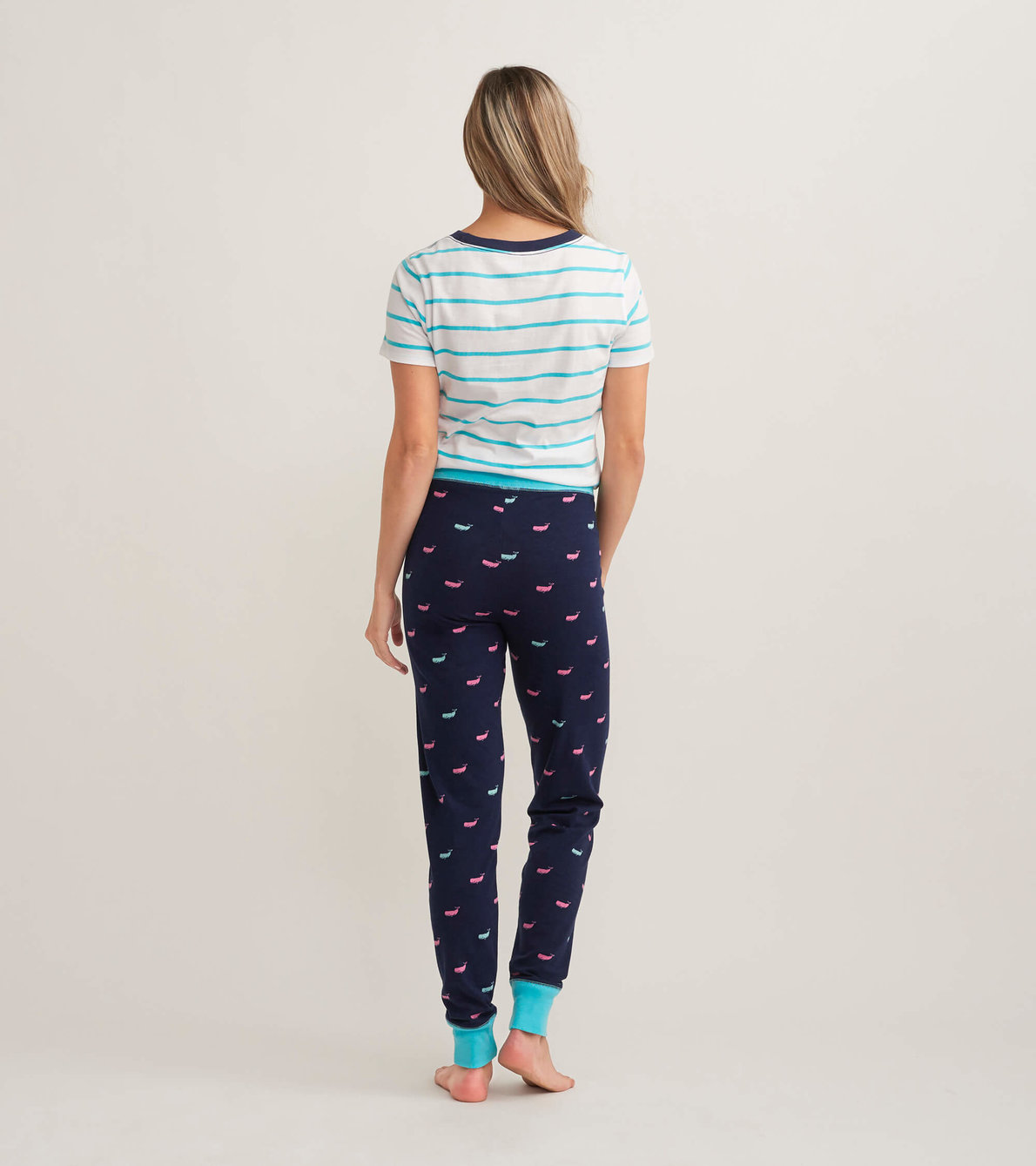 View larger image of Nautical Whales Women's Tee and Leggings Pajama Separates