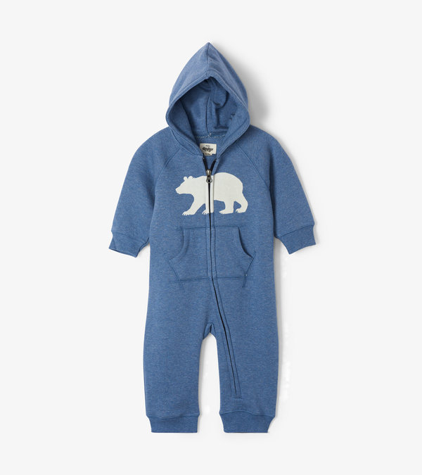 Navy Bear Baby Heritage Hooded Romper
