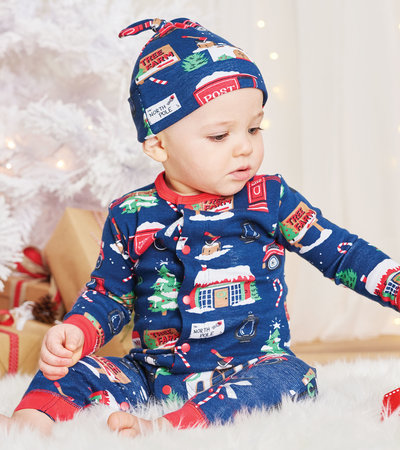Navy Christmas Village Baby Coverall with Hat