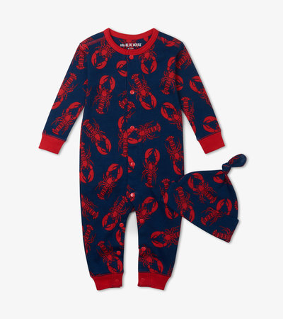 Navy Lobster Baby Coverall with Hat