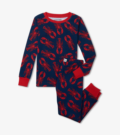 Navy Lobster Kids Pajama Set