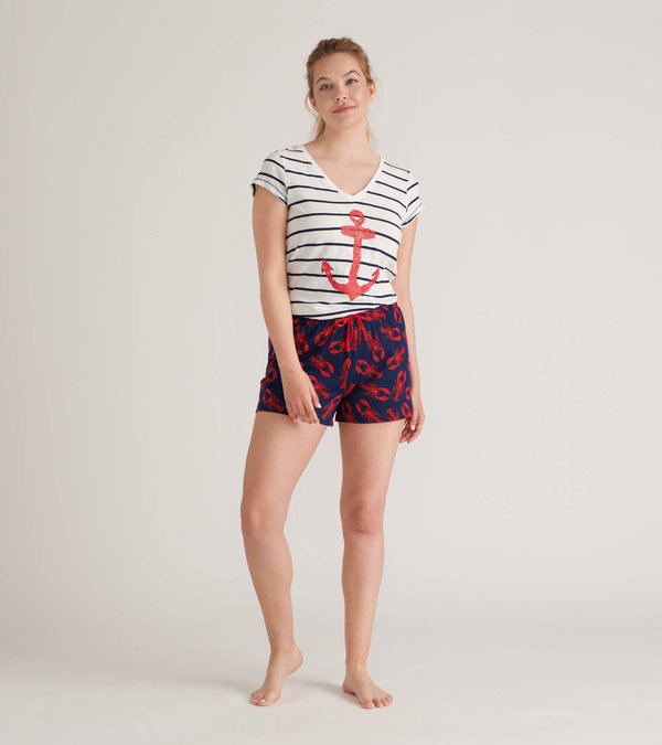 Navy Lobsters Women's Tee and Shorts Pajama Separates