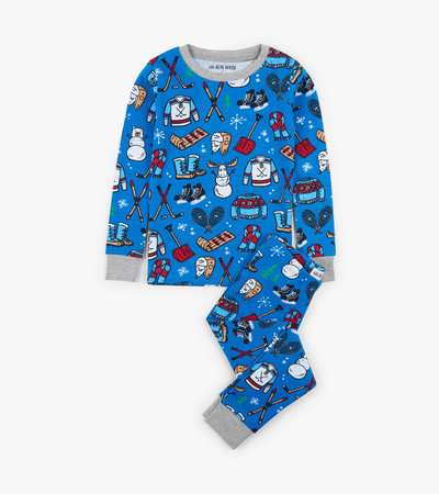 Navy Winter Traditions Kids Pajama Set