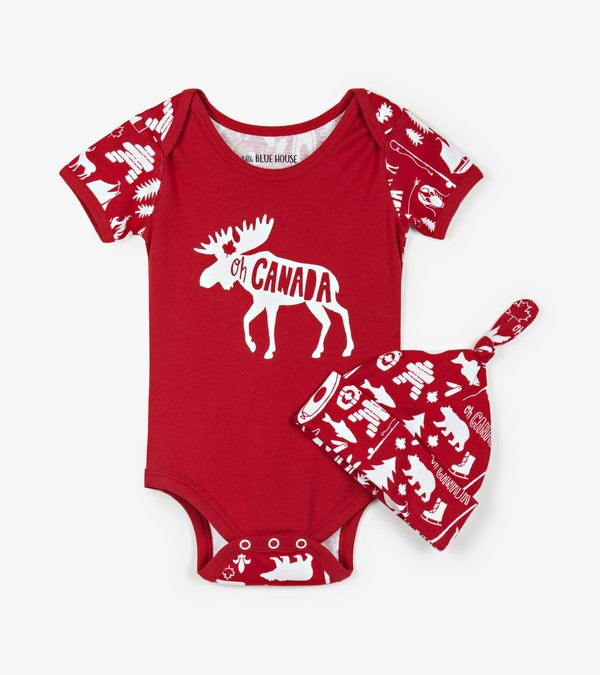 Oh Canada Baby Bodysuit with Hat