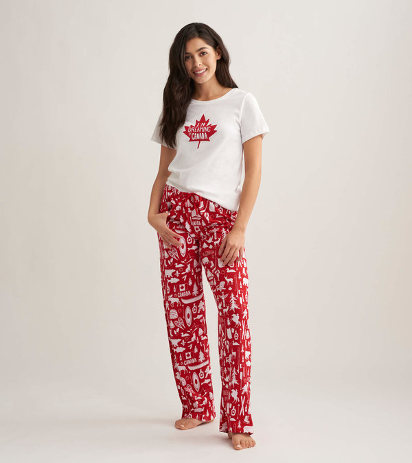Oh Canada Women's Tee and Pants Pajama Separates