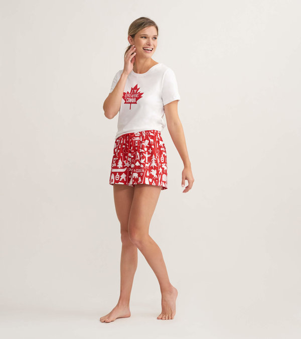 Oh Canada Women's Tee and Shorts Pajama Separates