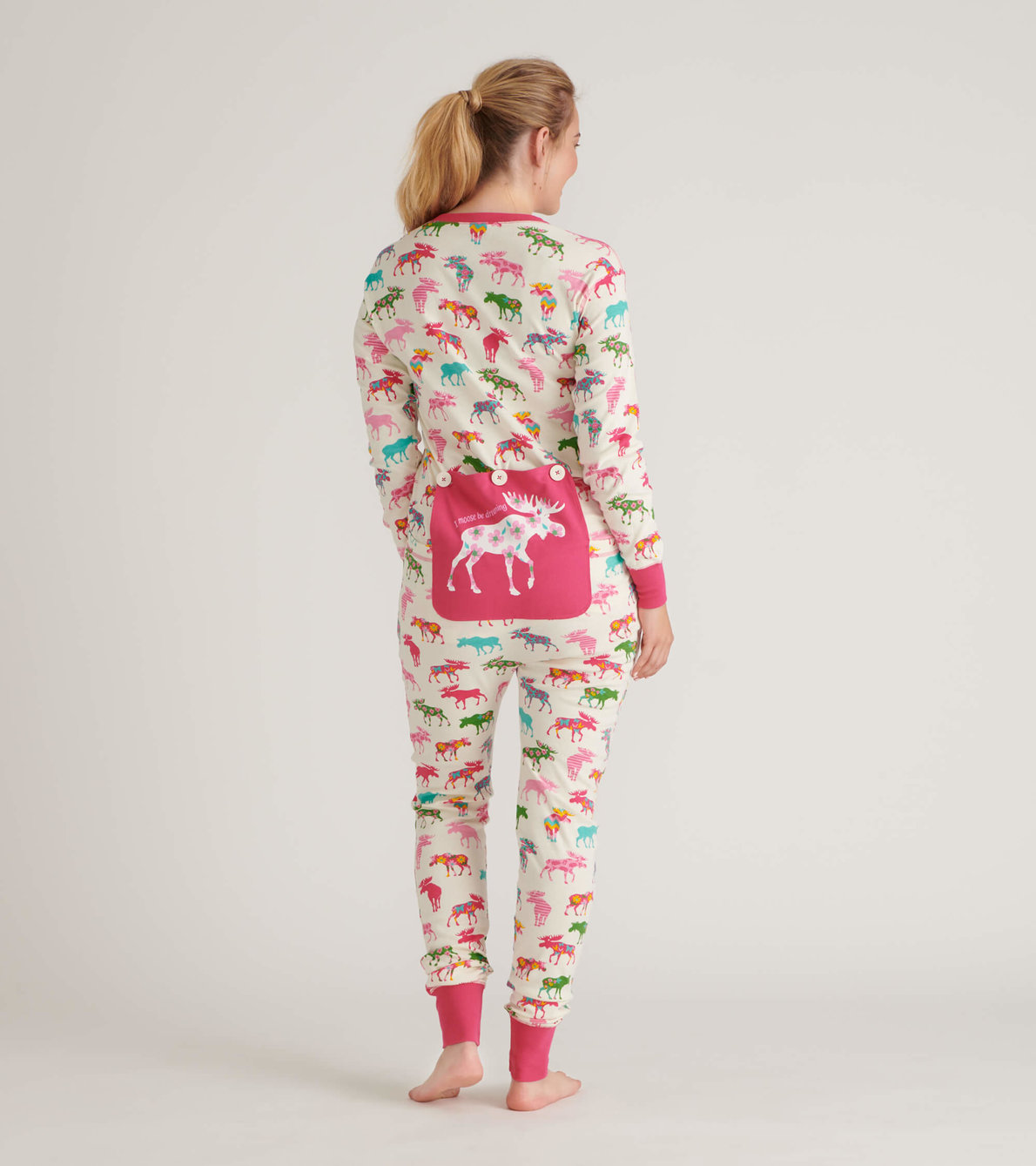 View larger image of Patterned Moose Adult Union Suit