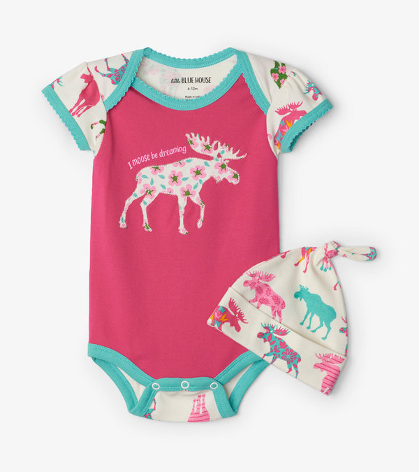 Patterned Moose Baby Bodysuit with Hat