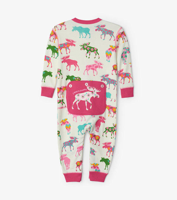 Patterned Moose Baby Union Suit