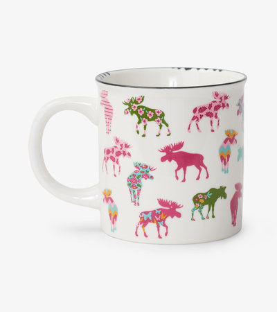 Patterned Moose Ceramic Camping Mug